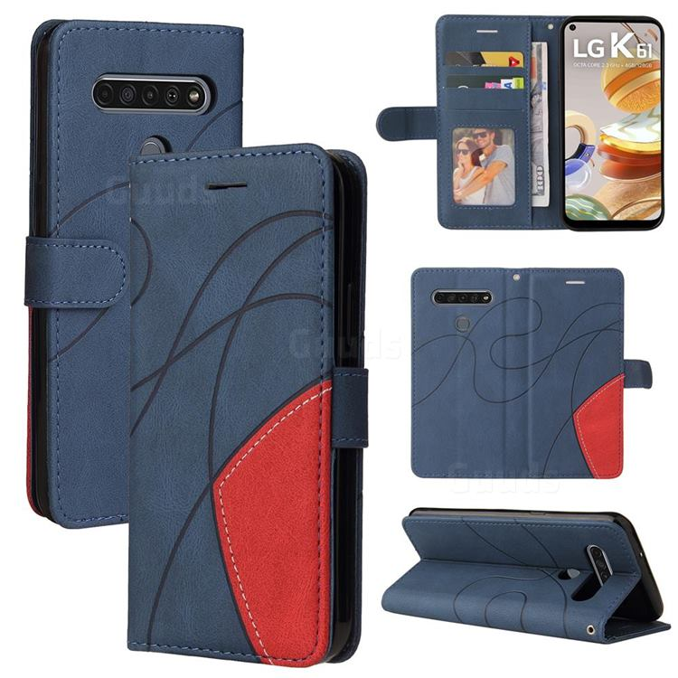 Luxury Two-color Stitching Leather Wallet Case Cover for LG K61 - Blue