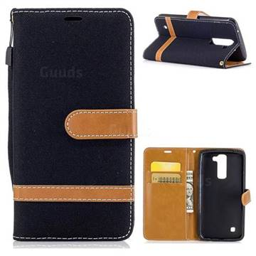 Jeans Cowboy Denim Leather Wallet Case for LG K7 - Black