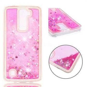 Dynamic Liquid Glitter Quicksand Sequins TPU Phone Case for LG K8 - Rose