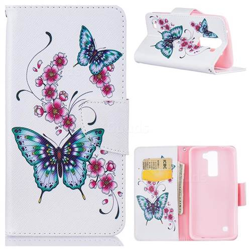 Peach Butterfly Leather Wallet Case for LG K8