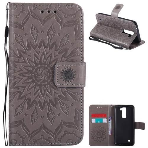 Embossing Sunflower Leather Wallet Case for LG K8 - Gray