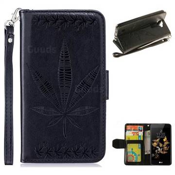 Intricate Embossing Maple Leather Wallet Case for LG K8 - Black