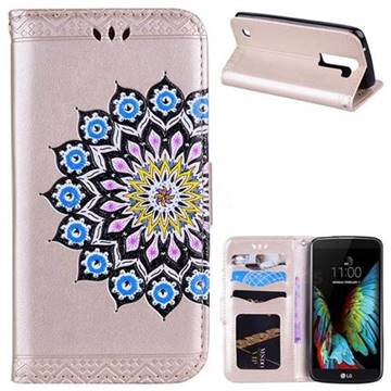 Datura Flowers Flash Powder Leather Wallet Holster Case for LG K8 - Golden