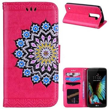 Datura Flowers Flash Powder Leather Wallet Holster Case for LG K8 - Rose