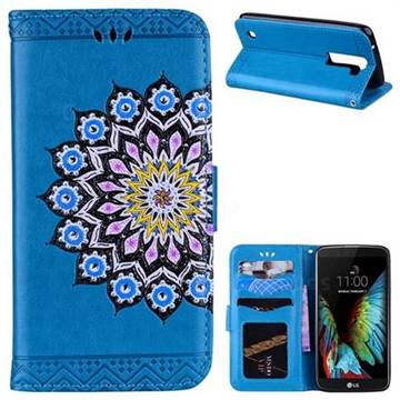 Datura Flowers Flash Powder Leather Wallet Holster Case for LG K8 - Blue