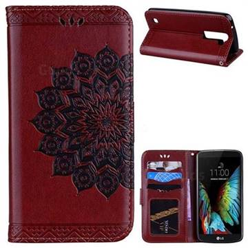 Datura Flowers Flash Powder Leather Wallet Holster Case for LG K8 - Brown