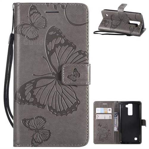 Embossing 3D Butterfly Leather Wallet Case for LG K8 - Gray