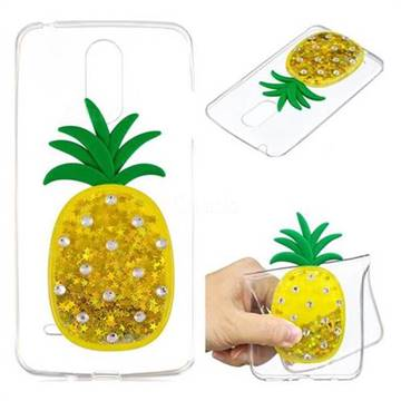 Gold Pineapple Liquid Quicksand Soft 3D Cartoon Case for LG K8 2017 M200N EU Version (5.0 inch)