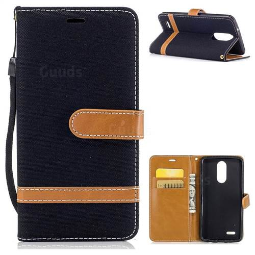 Jeans Cowboy Denim Leather Wallet Case for LG K8 2017 M200N EU Version (5.0 inch) - Black