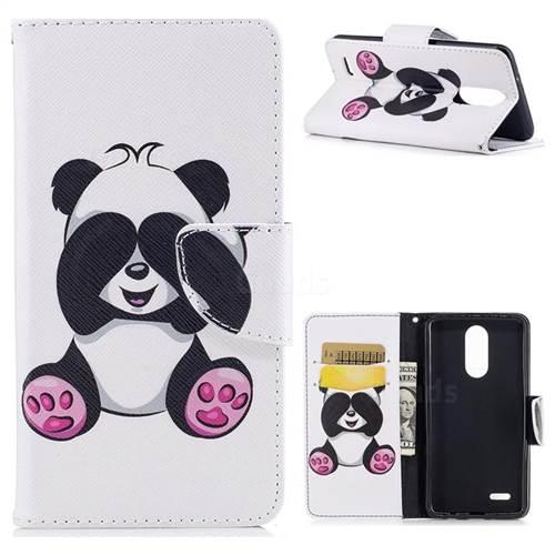 Lovely Panda Leather Wallet Case for LG K8 2017 M200N EU Version (5.0 inch)