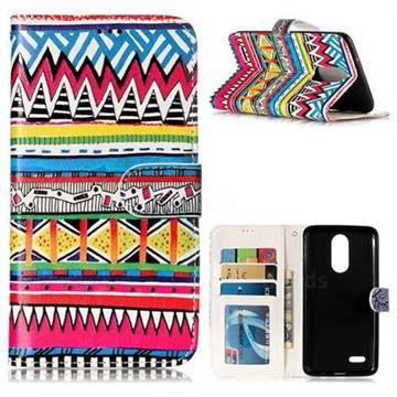 Tribal Pattern 3D Relief Oil PU Leather Wallet Case for LG K8 2017 M200N EU Version (5.0 inch)
