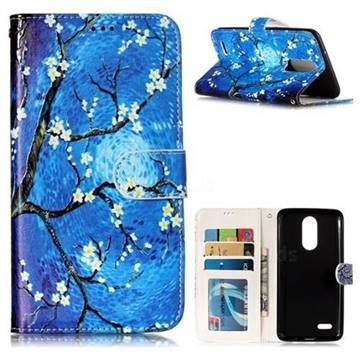 Plum Blossom 3D Relief Oil PU Leather Wallet Case for LG K8 2017 M200N EU Version (5.0 inch)