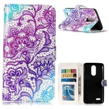 Purple Lotus 3D Relief Oil PU Leather Wallet Case for LG K8 2017 M200N EU Version (5.0 inch)