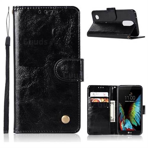 Luxury Retro Leather Wallet Case for LG K8 2017 M200N EU Version (5.0 inch) - Black