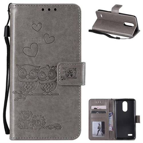 Embossing Owl Couple Flower Leather Wallet Case for LG K8 2017 M200N EU Version (5.0 inch) - Gray