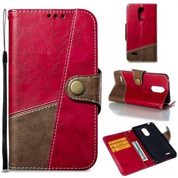 Retro Magnetic Stitching Wallet Flip Cover for LG K8 2017 M200N EU Version (5.0 inch) - Rose Red