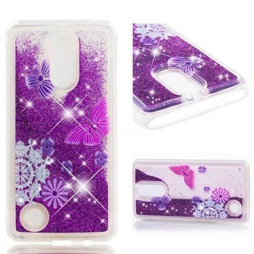 Dynamic Liquid Glitter Quicksand Soft TPU Case for LG K8 2017 US215 American version LV3 MS210 - Purple Flower Butterfly