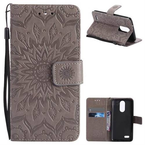 Embossing Sunflower Leather Wallet Case for LG K8 2017 US215 American version LV3 MS210 - Gray
