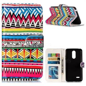 Tribal Pattern 3D Relief Oil PU Leather Wallet Case for LG K8 2017 US215 American version LV3 MS210
