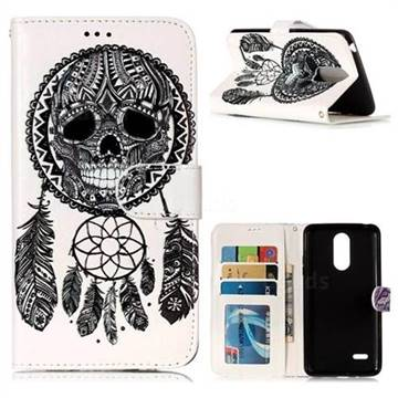 Wind Chimes Skull 3D Relief Oil PU Leather Wallet Case for LG K8 2017 US215 American version LV3 MS210