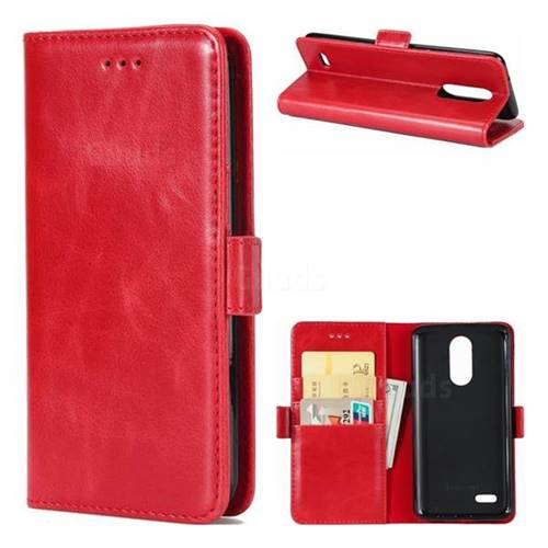 Luxury Crazy Horse PU Leather Wallet Case for LG K8 2017 US215 American version LV3 MS210 - Red
