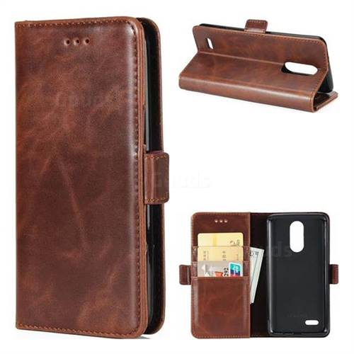 Luxury Crazy Horse PU Leather Wallet Case for LG K8 2017 US215 American version LV3 MS210 - Coffee