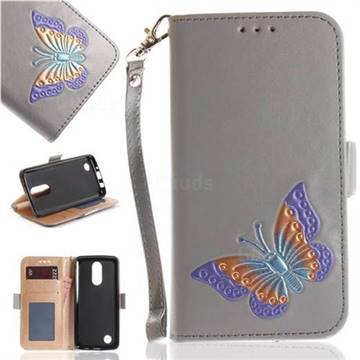 Imprint Embossing Butterfly Leather Wallet Case for LG K8 2017 US215 American version LV3 MS210 - Grey