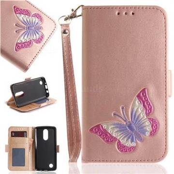 Imprint Embossing Butterfly Leather Wallet Case for LG K8 2017 US215 American version LV3 MS210 - Rose Gold