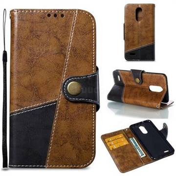 Retro Magnetic Stitching Wallet Flip Cover for LG K8 2017 US215 American version LV3 MS210 - Brown