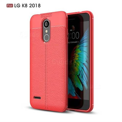 Luxury Auto Focus Litchi Texture Silicone TPU Back Cover for LG K8 (2018) / LG K9 - Red