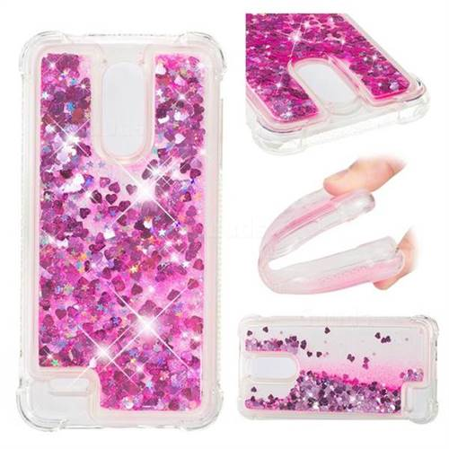 Dynamic Liquid Glitter Sand Quicksand TPU Case for LG K8 (2018) / LG K9 - Pink Love Heart