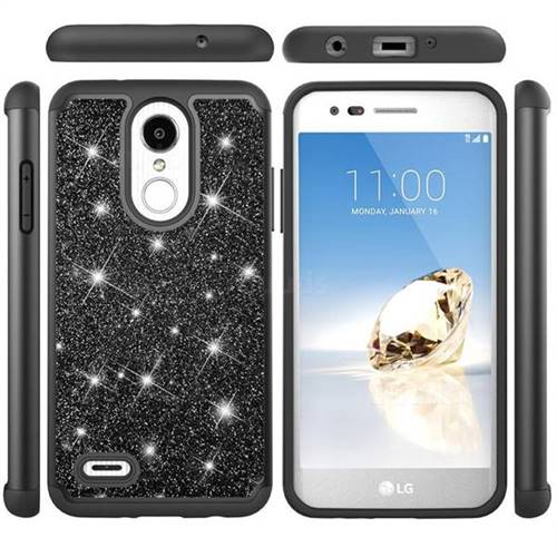 Glitter Rhinestone Bling Shock Absorbing Hybrid Defender Rugged Phone Case Cover for LG K8 (2018) / LG K9 - Black