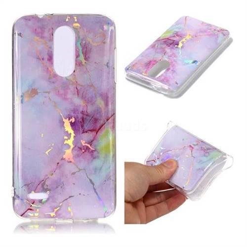 Pink Purple Marble Pattern Bright Color Laser Soft TPU Case for LG K8 (2018)
