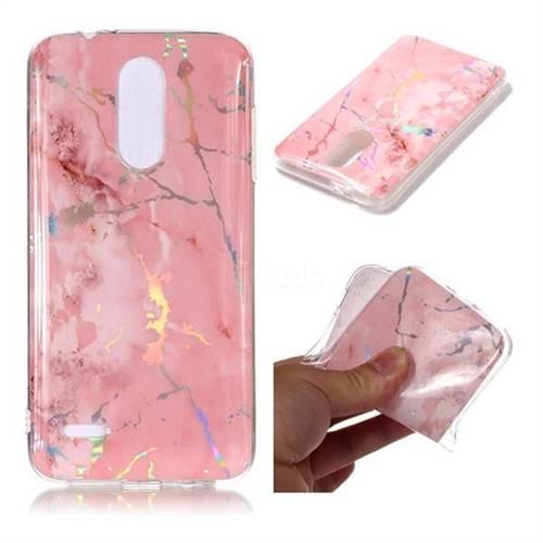 Powder Pink Marble Pattern Bright Color Laser Soft TPU Case for LG K8 (2018)