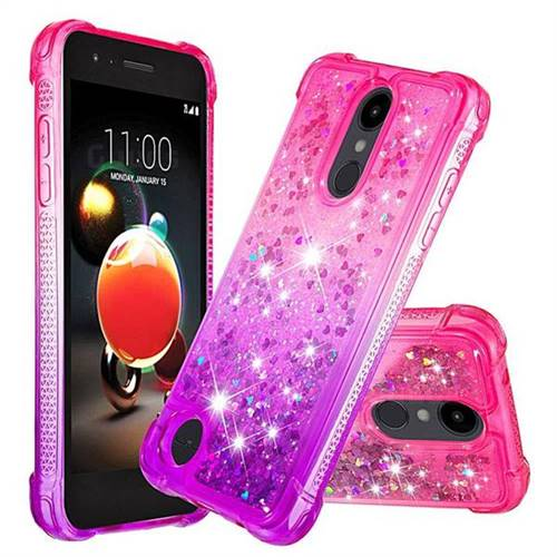 Rainbow Gradient Liquid Glitter Quicksand Sequins Phone Case for LG K8 (2018) - Pink Purple