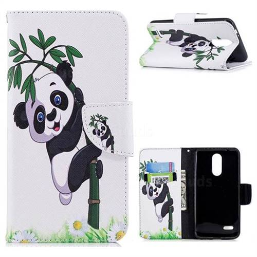 Bamboo Panda Leather Wallet Case for LG K8 (2018)