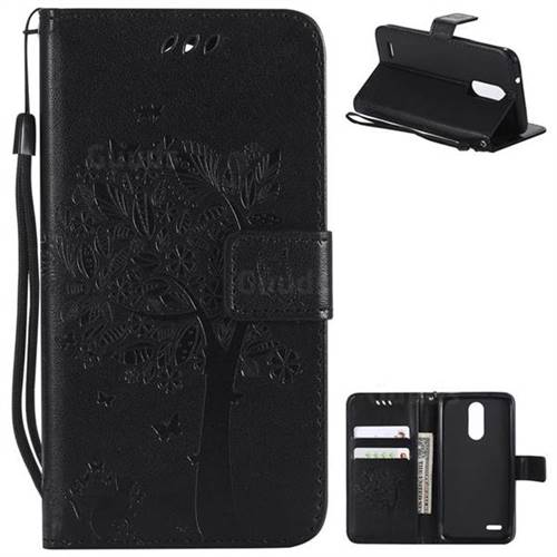 Embossing Butterfly Tree Leather Wallet Case for LG K8 (2018) / LG K9 - Black