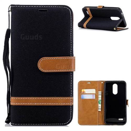 Jeans Cowboy Denim Leather Wallet Case for LG K8 (2018) / LG K9 - Black