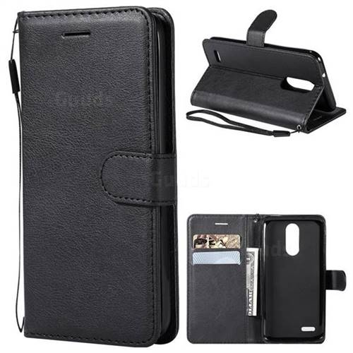 Retro Greek Classic Smooth PU Leather Wallet Phone Case for LG K8 (2018) / LG K9 - Black