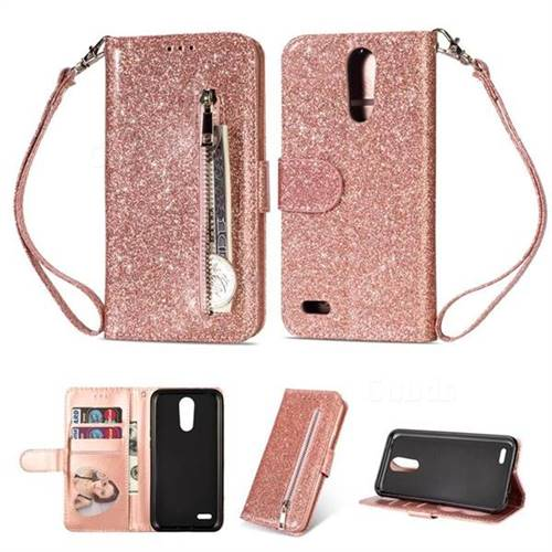 info for 23bbb 7dc0e Glitter Shine Leather Zipper Wallet Phone Case for LG K8 (2018) / LG K9 -  Pink