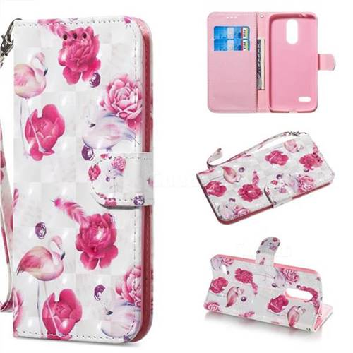 Flamingo 3D Painted Leather Wallet Phone Case for LG K8 (2018)