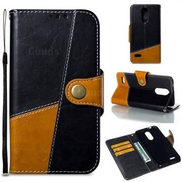 Retro Magnetic Stitching Wallet Flip Cover for LG K8 (2018) - Black