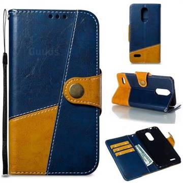 Retro Magnetic Stitching Wallet Flip Cover for LG K8 (2018) - Blue