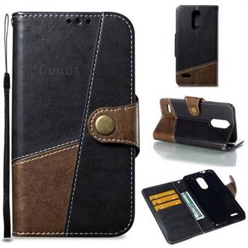 Retro Magnetic Stitching Wallet Flip Cover for LG K8 (2018) - Dark Gray