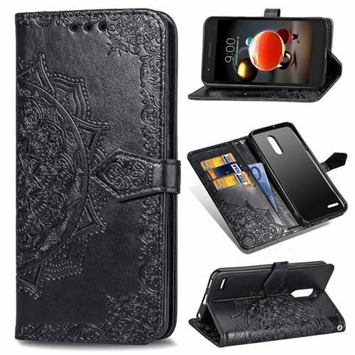 Embossing Imprint Mandala Flower Leather Wallet Case for LG K8 (2018) - Black