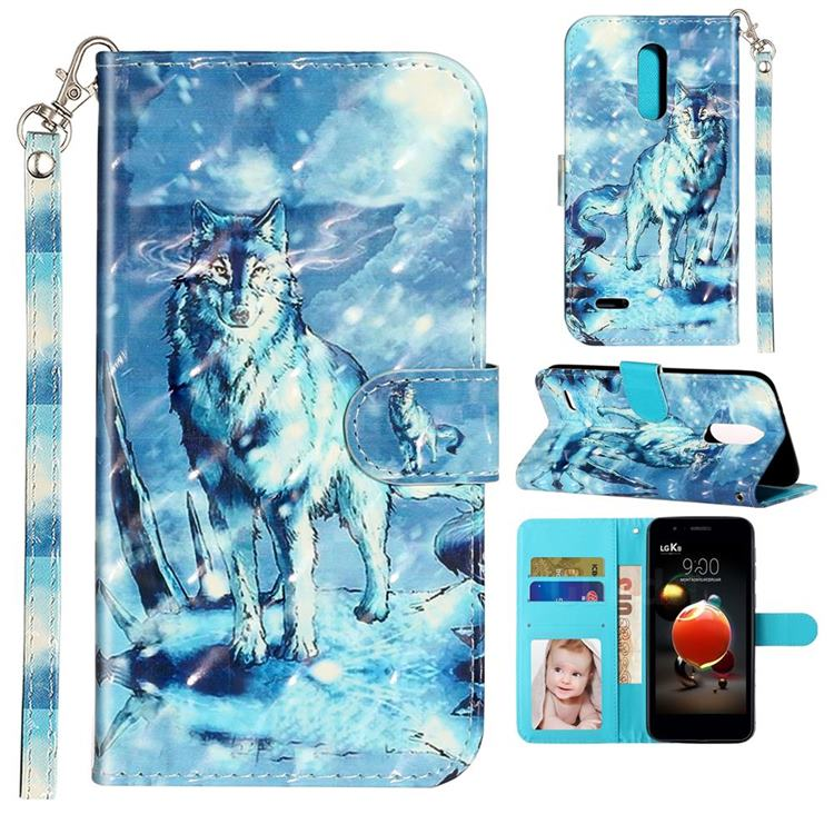 Snow Wolf 3D Leather Phone Holster Wallet Case for LG K8 (2018)