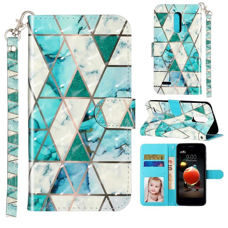 Stitching Marble 3D Leather Phone Holster Wallet Case for LG K8 (2018)