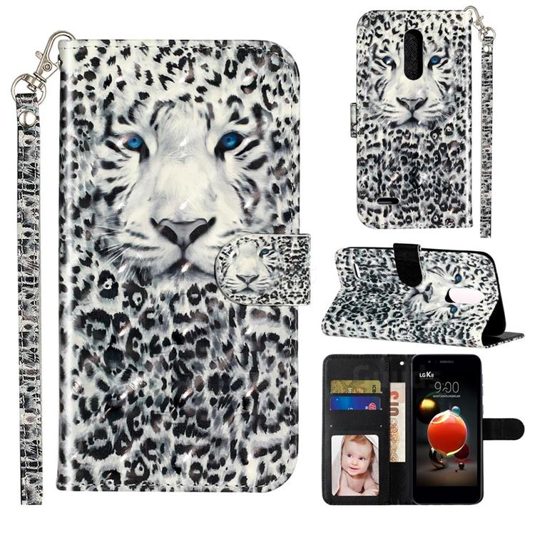 White Leopard 3D Leather Phone Holster Wallet Case for LG K8 (2018)