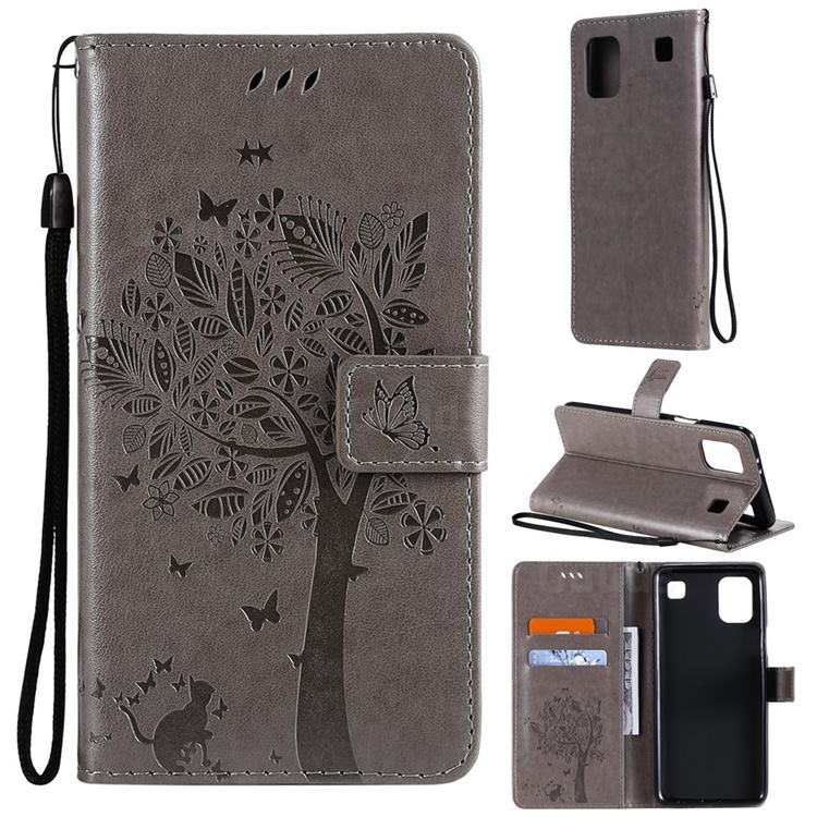Embossing Butterfly Tree Leather Wallet Case for LG K92 5G - Grey