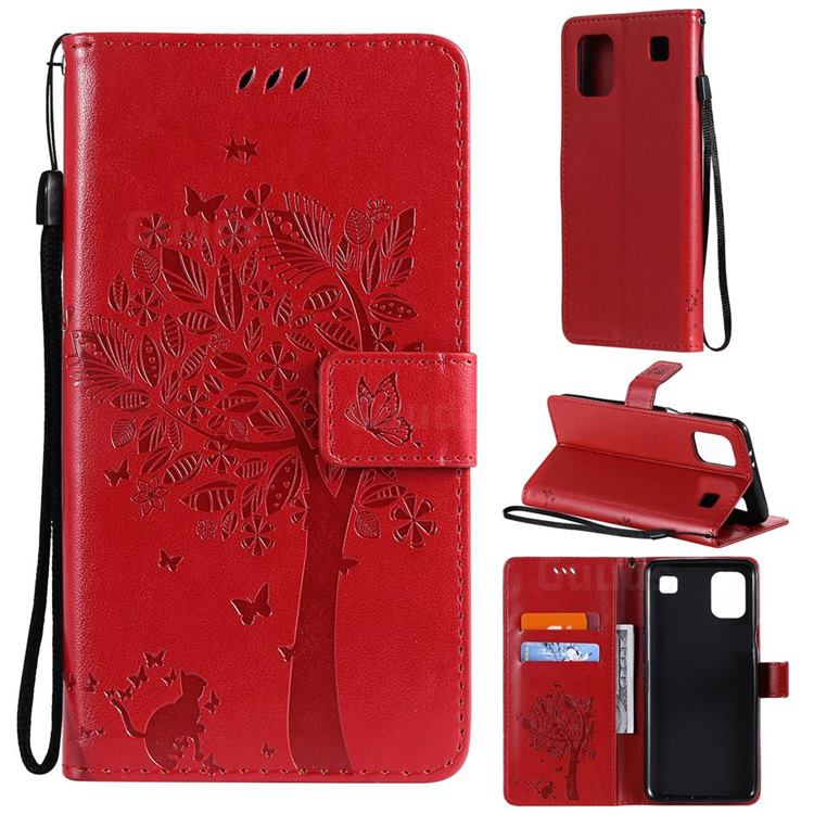 Embossing Butterfly Tree Leather Wallet Case for LG K92 5G - Red